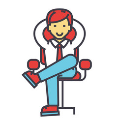 Young businessman relaxing boss successful vector