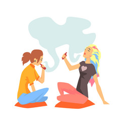 Young hipster girls smoking vaporizers sitting on vector