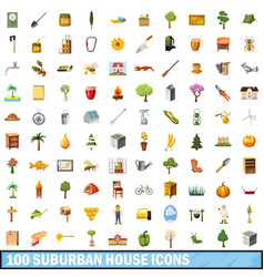 100 suburban house icons set cartoon style vector