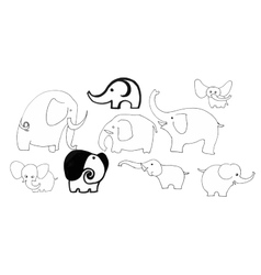 Cute black and white doodle elephants set vector