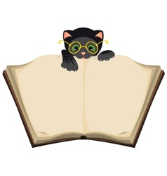 Cat reading open book vector