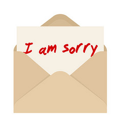 I am sorry card in brown envelope the letter vector