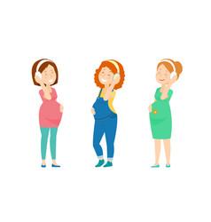 three pregnant women enjoy music vector image