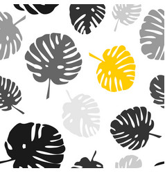 Tile tropical pattern with exotic leaves on white vector