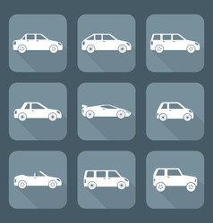 White flat style various body types of cars icons vector