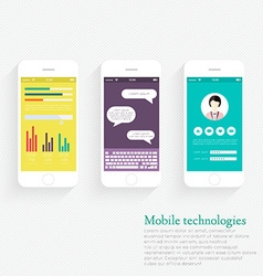 Collection of mobile phones with user interface vector