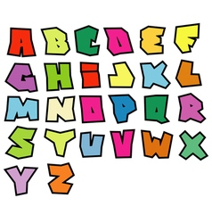 Graffiti readable fonts alphabet over white vector
