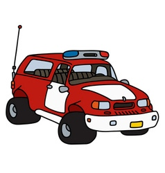Funny fire patrol car vector