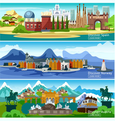 European touristic banners set vector