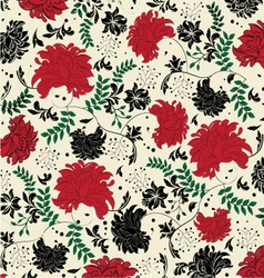 Floral seamless pattern with red and black element vector
