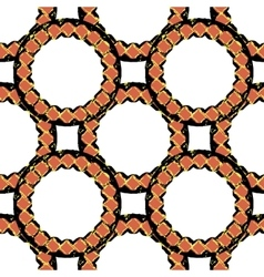 A pattern of black and orange stylized rings vector image