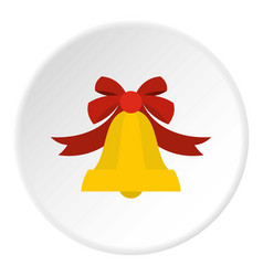 Bell with red bow icon circle vector