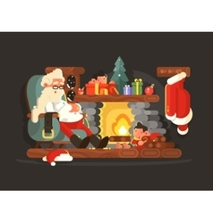 Character Santa Claus on chair near fireplace vector image vector image
