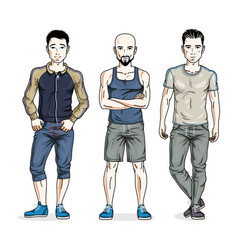 Confident handsome men posing in stylish vector