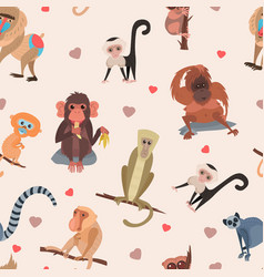 Different cartoon monkey breed character animal vector