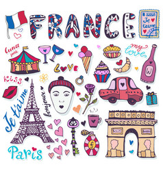 Doodles set of france - eiffel tower triumphal vector