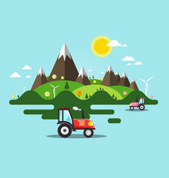 Flat design landscape with tractor on field vector