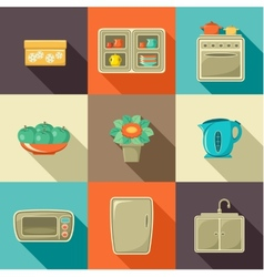 Flat icons with household objects vector