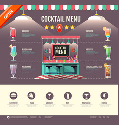 Flat style cocktail bar design web site design vector