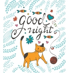 Good night concept card with a cat vector