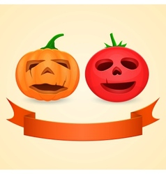 Halloween pumpkin and tomato vector