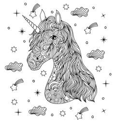 Hand drawn unicorn on white background vector