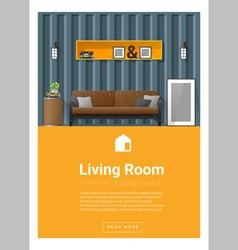 Interior design modern living room banner 3 vector