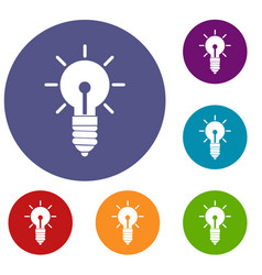 light bulb idea icons set vector image vector image