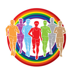 marathon runners group of people running men run vector image