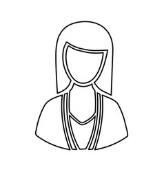 Monochrome half body silhouette woman faceless vector