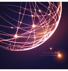 Neon grid globe background vector image