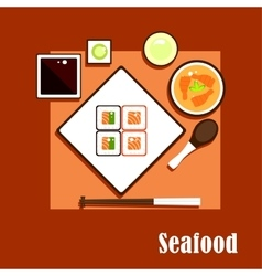 Seafood dishes and sauce of asian cuisine vector