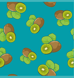 Seamless pattern kiwifruit on azure background vector