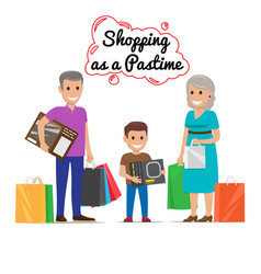 shopping as pastime for your family cartoon vector image vector image