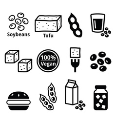 Soy beans soya tofu icons set vector image vector image