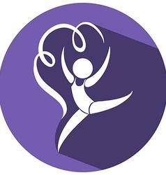 Sport icon design for gymnastics on round badge vector image vector image