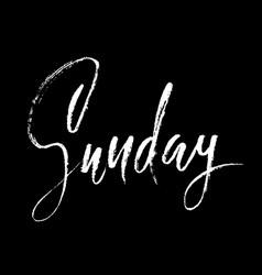 Sunday day of a week handdrawn modern brush vector