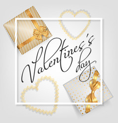 valentines day card with gifts vector image vector image