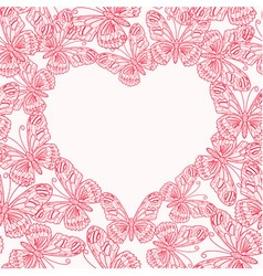 Valentines day card with heart from butterflies vector image vector image
