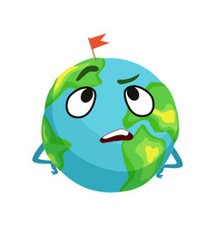 vexed earth planet character with hands on its vector image