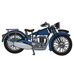 Vintage blue motorcycle vector image vector image