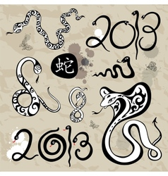 Year snakes symbol set vector image vector image