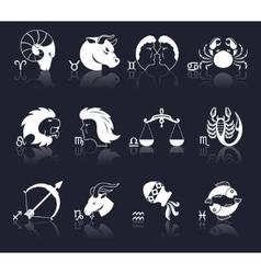 Zodiac icons white vector
