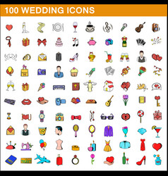 100 wedding icons set cartoon style vector