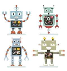 Robots flat icons robot pictograms vector