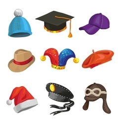 Set of cartoon police and joker hats vector image