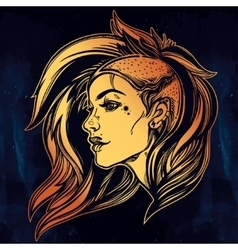 Face of a sexy young grunge punk girl vector image