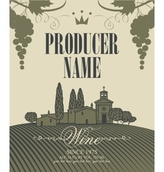 Wine labels with a landscape of vineyards vector
