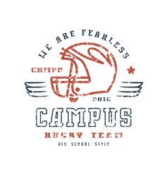 Rugby campus team badge with shabby texture vector