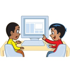 Boys at computer vector